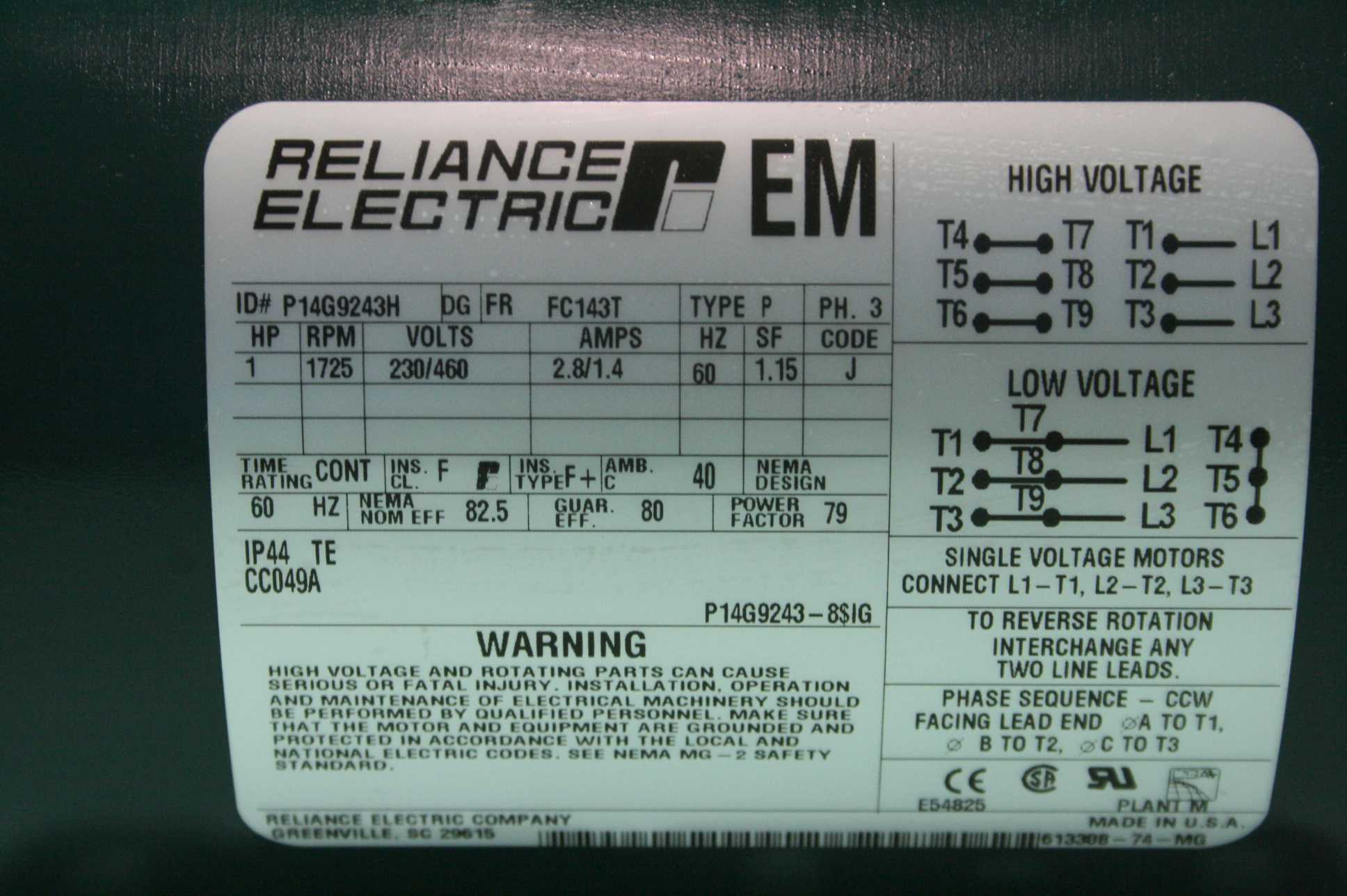 Reliance Electric P14g9243h 1 Hp Ac Motor 7 8 Shaft 1725