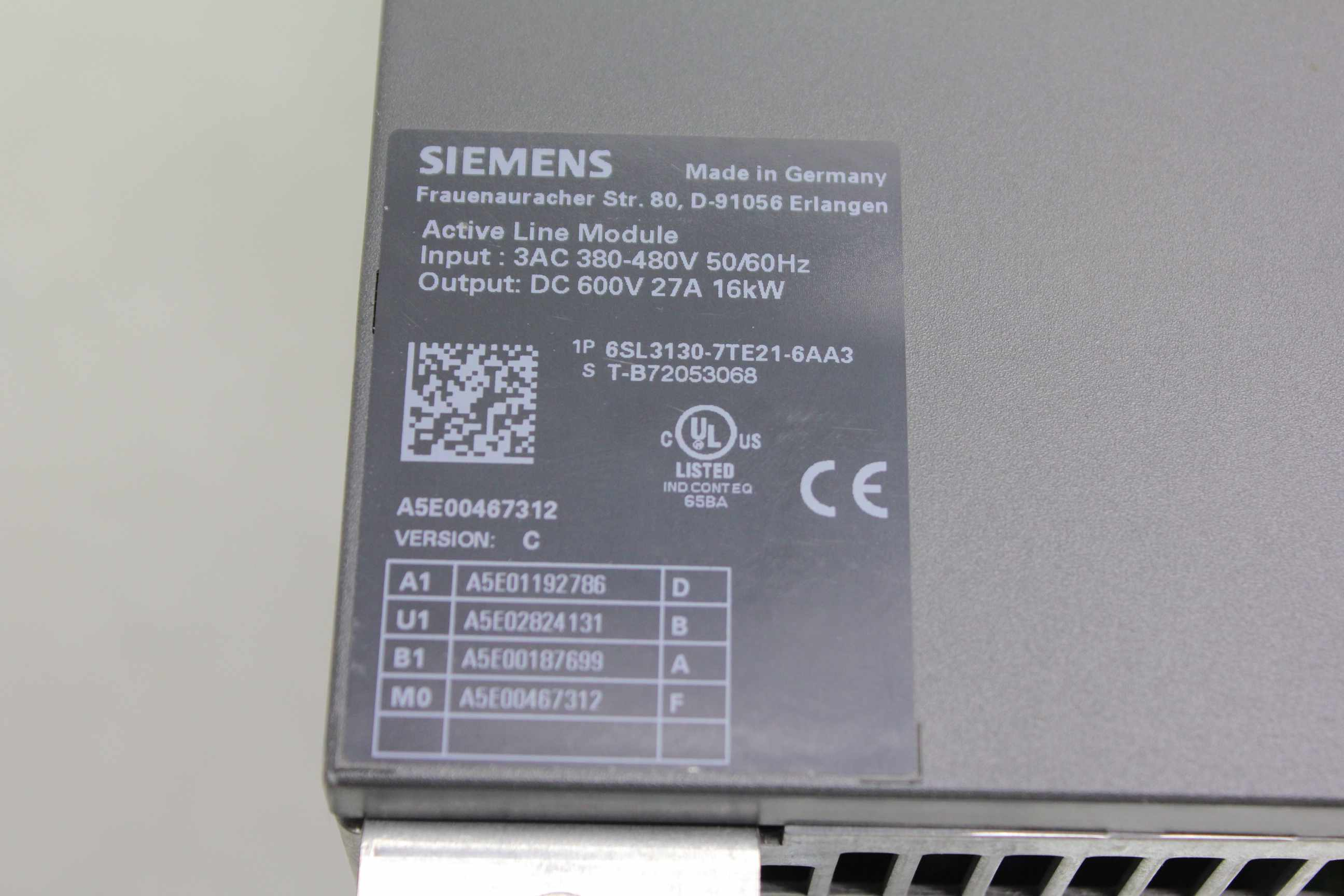 siemens 6sl3130 7te21 6aa3 active line module power supply. Black Bedroom Furniture Sets. Home Design Ideas